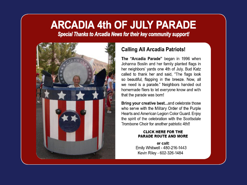 Arcadia 4th of July Parade 2016 Notice
